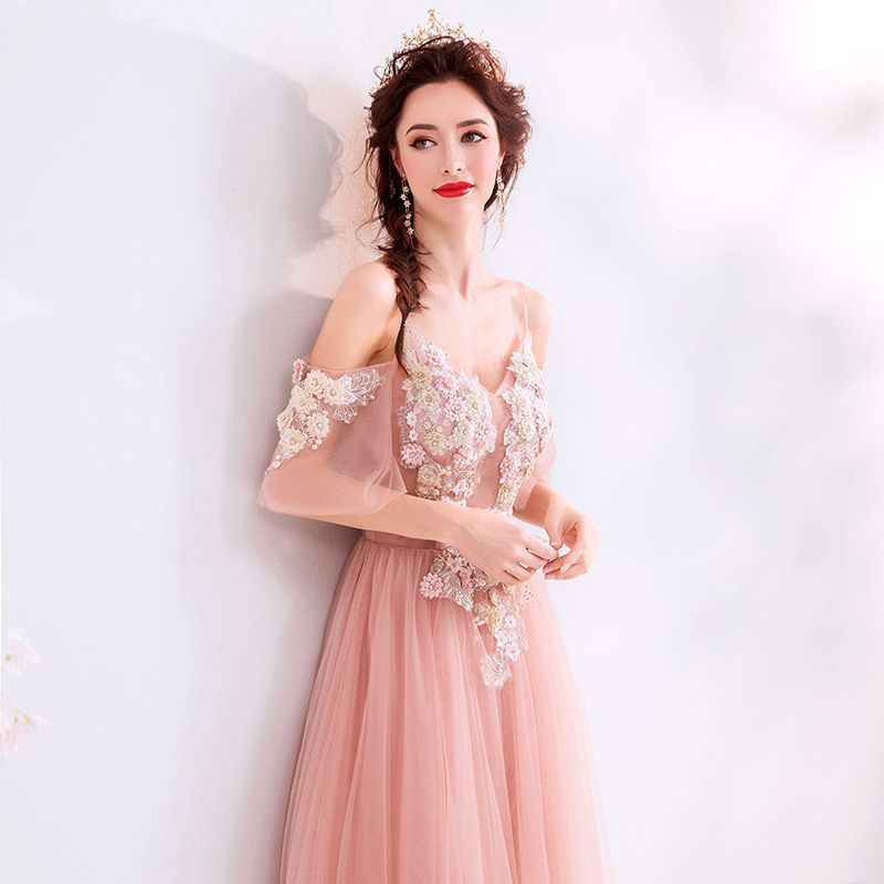 Elegant Pearl Pink Evening Dresses  2019 A-Line / Princess Spaghetti Straps Rhinestone Lace Flower Short Sleeve Backless Floor-Length / Long Formal Dresses