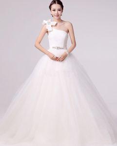 Linke Jeden Swiezy Aplikacja Satyna Linie Ramion Suknie Ślubne Suknia Ślubna Princessa