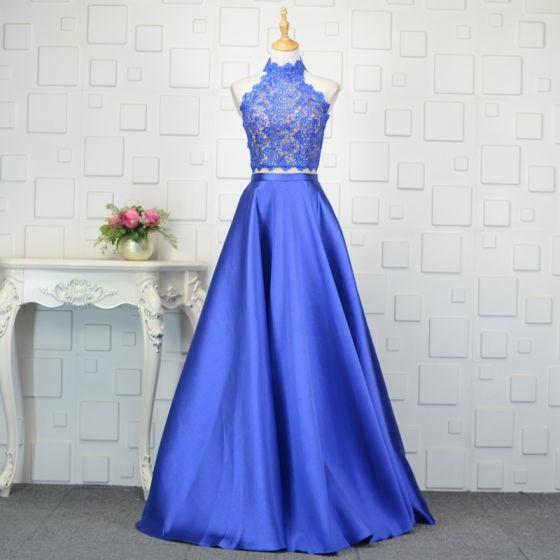 Vintage 2 Kawałek Królewski Niebieski Sukienki Wieczorowe 2019 Princessa Z Koronki Kryształ Wysokiej Szyi Bez Rękawów Bez Pleców Długie Sukienki Wizytowe