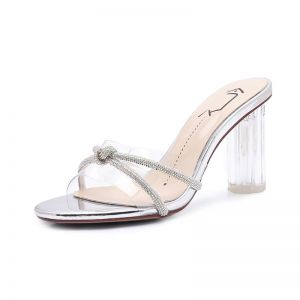 Sexy Transparent Silver Crystal Womens Sandals 2020 Street Wear Rhinestone 8 cm Thick Heels Open / Peep Toe Sandals
