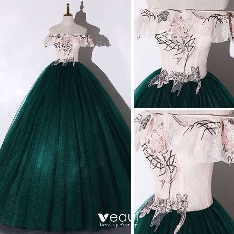 Piękne Ciemnozielony Taniec Sukienki Na Bal 2020 Suknia Balowa Przy Ramieniu Kótkie Rękawy Aplikacje Z Koronki Kwiat Cekiny Frezowanie Perła Długie