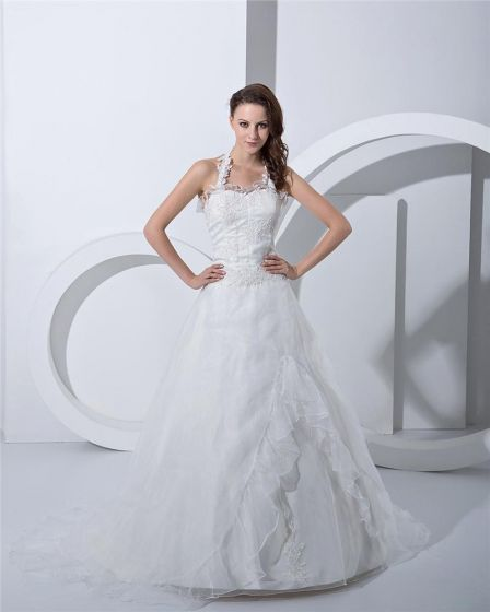 Applique Sweetheart Halter Court A-Line Bridal Gown Wedding Dress