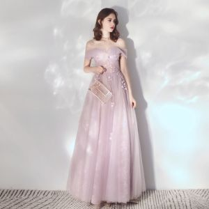 Elegant Blushing Pink Evening Dresses  2019 A-Line / Princess Off-The-Shoulder Short Sleeve Appliques Flower Beading Floor-Length / Long Ruffle Backless Formal Dresses