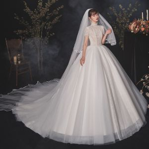 Vintage / Retro Ivory Lace Bridal Wedding Dresses 2020 Ball Gown High Neck Beading Short Sleeve Backless Pearl Chapel Train Ruffle