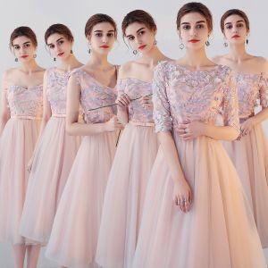 Hermoso Perla Rosada Vestidos De Damas De Honor 2018 A-Line / Princess Apliques Flor Bowknot Cinturón Té De Longitud Ruffle Sin Espalda Vestidos para bodas