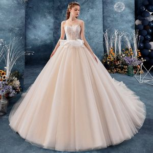 Chic / Beautiful Champagne Wedding Dresses 2019 Ball Gown Spaghetti Straps Sleeveless Backless Glitter Tulle Appliques Lace Chapel Train Ruffle