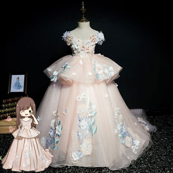 Luksusowe Różowy Perłowy Sukienki Dla Dziewczynek 2019 Suknia Balowa V-Szyja Kótkie Rękawy Aplikacje Z Koronki Frezowanie Perła Cekiny Trenem Sweep Wzburzyć Bez Pleców Sukienki Na Wesele