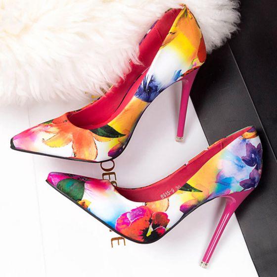 0c1c6842460 Hermoso Marino Oscuro Zapatos De Mujer 2017 Oficina Flor Gala Punta  Estrecha Charmeuse Bordado Stilettos   Tacones ...