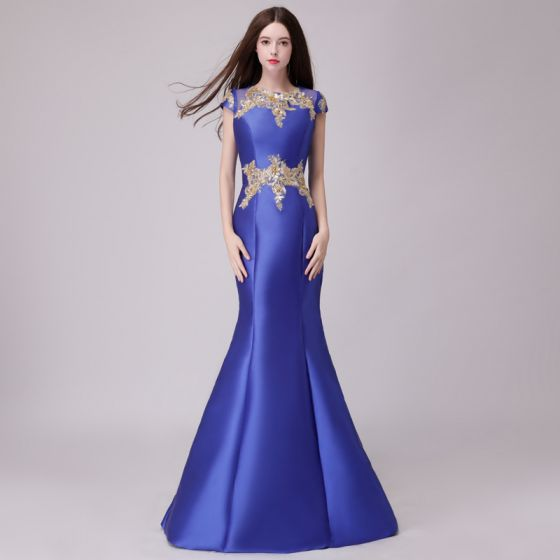 Classic Royal Blue Evening Dresses  2018 Trumpet / Mermaid Lace Appliques Pearl Scoop Neck Sleeveless Floor-Length / Long Formal Dresses
