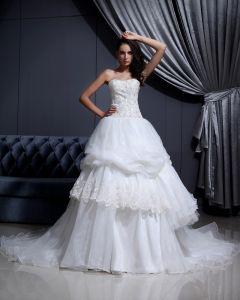 Armlos Mesh Spets Beading Alskling Katedralen Tag Balklänning Brudklänningar Bröllopsklänningar