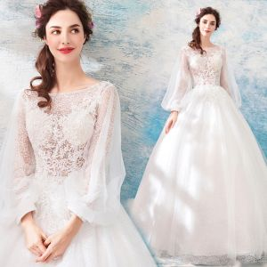 Affordable Ivory See-through Wedding Dresses 2019 A-Line / Princess Square Neckline Puffy Long Sleeve Backless Appliques Lace Floor-Length / Long Ruffle