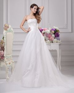 Strapless Floor Length Beading Pleated Satin A Line Wedding Dress