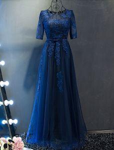 2c09dbe42 Vestidos De Noche Elegantes 2017 Escote Cuello Applique Encaje Azul Marino  Vestido