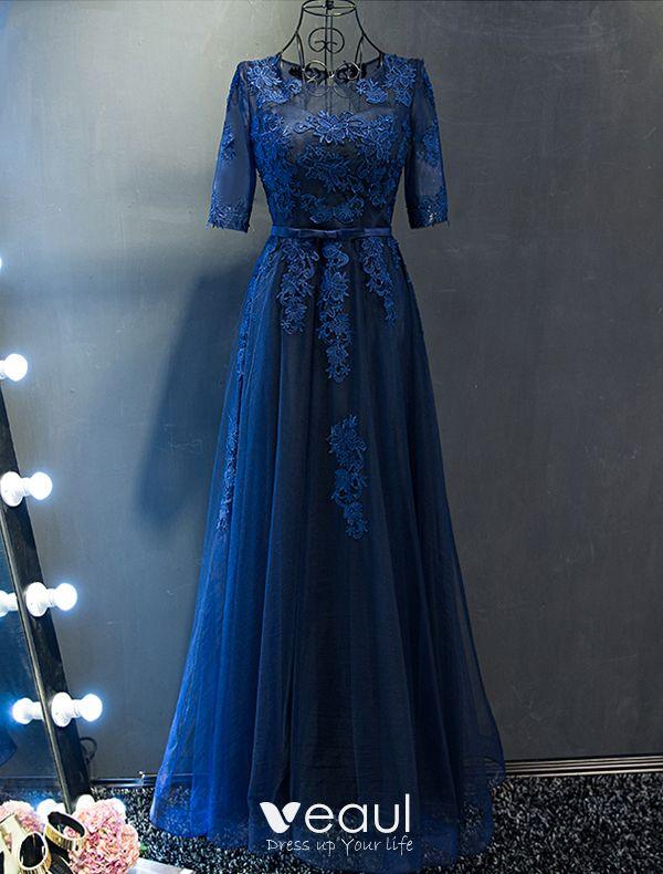 3b3952efa Vestidos De Noche Elegantes 2017 Escote Cuello Applique Encaje Azul Marino  Vestido