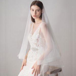 Klasyczna Eleganckie Białe Ślub Krótkie Tiulowe Welony Ślubne 2019
