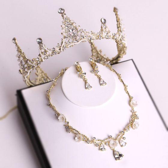 Schöne Gold Diadem Halskette Ohrringe Brautschmuck 2019 Metall Perlenstickerei Kristall Strass Hochzeit Brautaccessoires