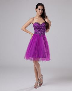 Mesh Sleeveless Beading Sweetheart Short Graduation Dresses