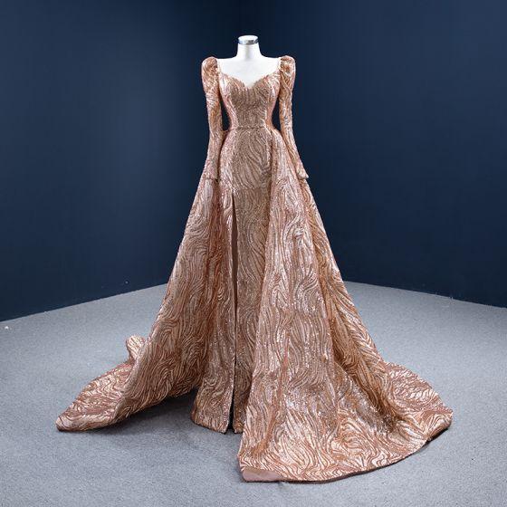 Wysokiej Klasy Błyszczące Złote Cekiny Sukienki Wieczorowe 2021 Princessa Kwadratowy Dekolt Długie Rękawy Bez Pleców Trenem Kaplica Sukienki Wizytowe