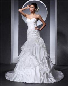 Alskling Beading Rufsa Blomma Golv Langd Taft Kvinna Boll Vuxit Brudklänningar Bröllopsklänningar