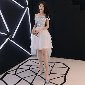 Piękne Kość Słoniowa Sukienki Koktajlowe 2018 Princessa Przy Ramieniu Kótkie Rękawy Cekiny Asymetryczny Wzburzyć Bez Pleców Sukienki Wizytowe
