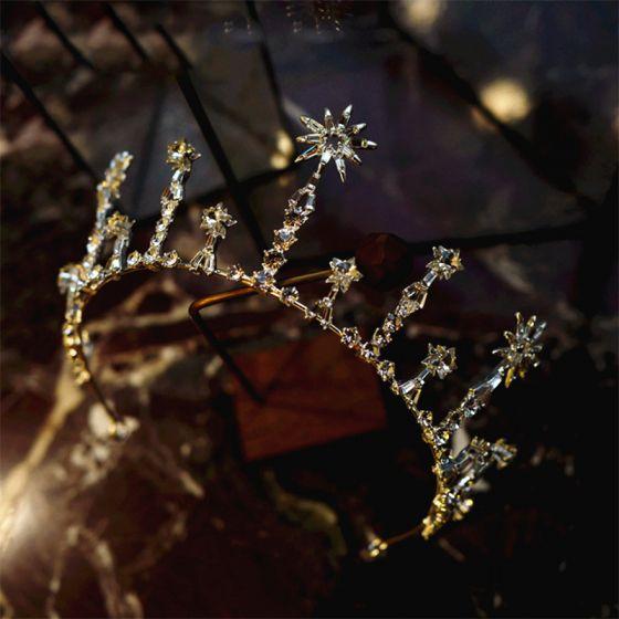 Magnífico Plata Tiara 2019 Metal Circón Rhinestone Tocados de novia