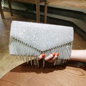 Sparkly Sølv Glitter Rhinestone Dusk Håndvesken  2018