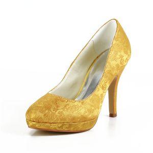 Prachtige Gouden Galaschoenen Geborduurd Satijnen Stiletto Pumps
