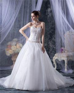 Yarn Sweetheart Applique Beading Chapel Bridal Ball Gown Wedding Dress