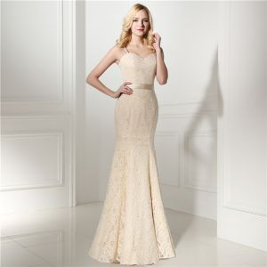 Chic / Beautiful Champagne Lace Evening Dresses  2020 Trumpet / Mermaid Spaghetti Straps Sleeveless Sequins Bow Sash Floor-Length / Long Ruffle Backless Formal Dresses