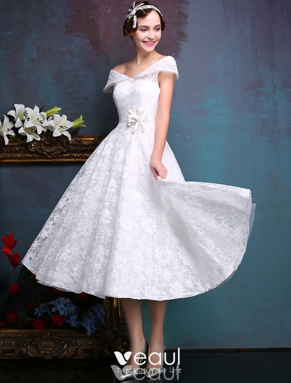 Beautiful Short Wedding Dresses 2016 Off The Shoulder White Lace Dress With Flower Sash