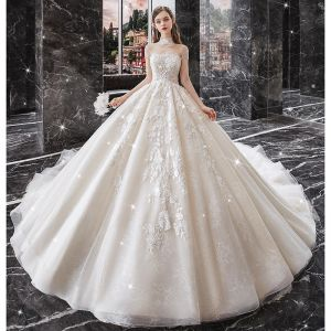 Vintage / Retro Champagne Bridal Wedding Dresses 2020 Ball Gown See-through High Neck Short Sleeve Beading Tassel Backless Appliques Lace Cathedral Train Ruffle