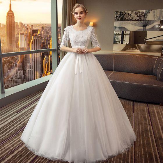 Chic / Belle Noire Robe De Mariée 2018 Princesse Noeud Dentelle Paillettes Encolure Dégagée 1/2 Manches Longue Mariage