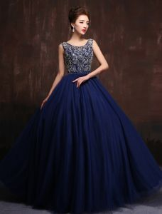 Luxury Scoop Neck Beading Rhinestone Crystal Royal Blue Tulle Prom Dress