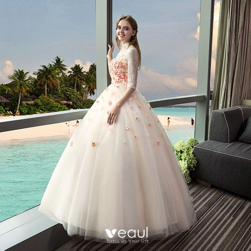 Vintage Outdoor / Garden Champagne Wedding Dresses 2017