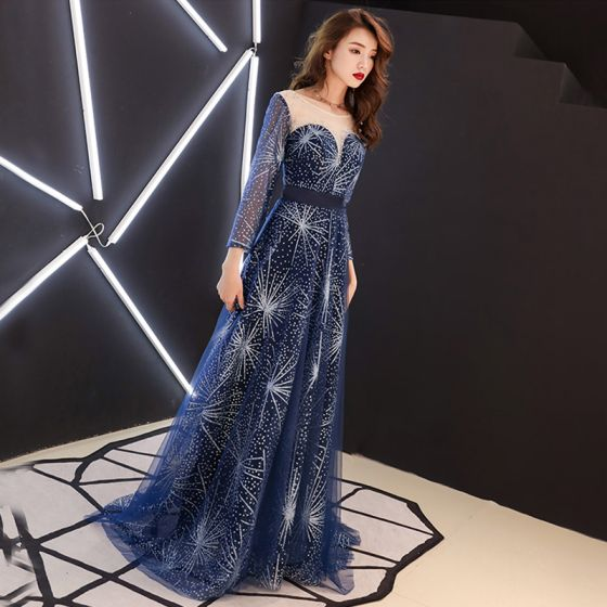 Starry Sky Navy Blue See-through Evening Dresses  2019 A-Line / Princess Scoop Neck 3/4 Sleeve Rhinestone Glitter Tulle Sweep Train Ruffle Backless Formal Dresses