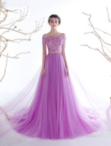 Glamourösen Abendkleider 2017 Von Der Schulter Applique Blumen Perlen Strass Kleid Mit Langen Ärmeln Zug