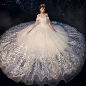 Best Ivory Outdoor / Garden Wedding Dresses 2019 Ball Gown Off-The-Shoulder Bell sleeves Backless Beading Appliques Lace Glitter Tulle Floor-Length / Long Ruffle