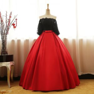 Chic / Beautiful Black Red Prom Dresses 2017 Ball Gown Strapless 1/2 Sleeves Appliques Lace Sequins Pearl Bow Sash Floor-Length / Long Ruffle Backless Formal Dresses
