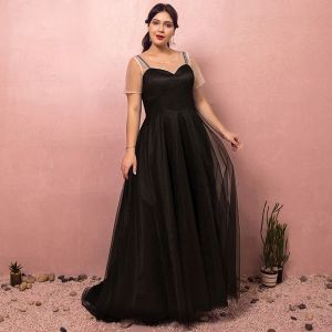 Modest / Simple Black Plus Size Prom Dresses 2018 A-Line / Princess Short Sleeve Crossed Straps Tulle U-Neck Printing Evening Party Evening Dresses