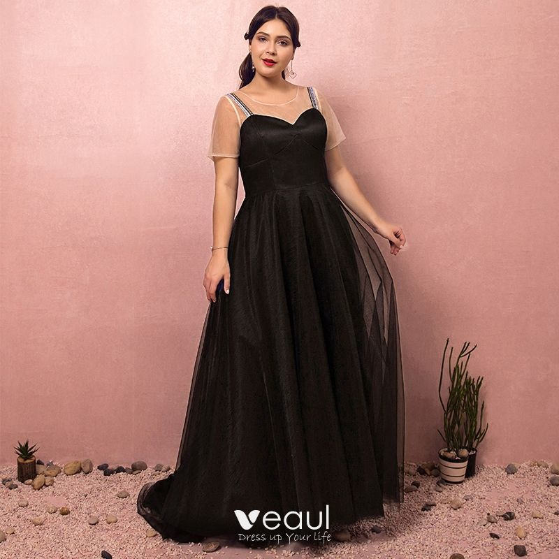 Modest / Simple Black Plus Size Prom Dresses 2018 A-Line / Princess Short  Sleeve Crossed Straps Tulle U-Neck Printing Evening Party Evening Dresses