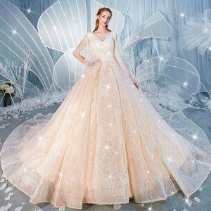Glitzernden Champagner Pailletten Brautkleider / Hochzeitskleider 2020 Ballkleid V-Ausschnitt Perlenstickerei 1/2 Ärmel Rückenfreies Kathedrale Schleppe