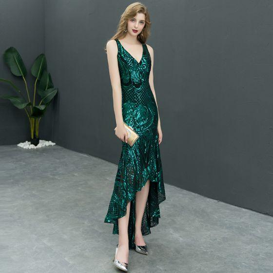 Seksowne Ciemnozielony Cekiny Sukienki Wieczorowe 2019 Syrena / Rozkloszowane V-Szyja Bez Rękawów Asymetryczny Wzburzyć Bez Pleców Sukienki Wizytowe