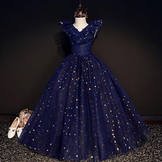 Sternenklarer Himmel Marineblau Geburtstag Blumenmädchenkleider 2020 Ballkleid V-Ausschnitt Ärmellos Star Pailletten Glanz Tülle Lange Rüschen