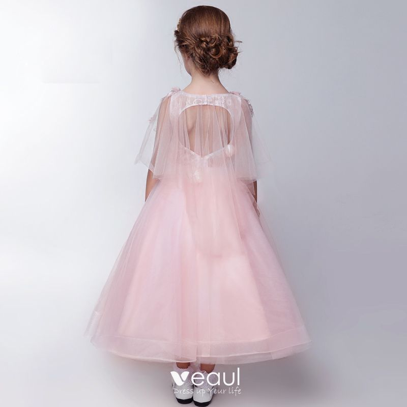 Chic / Beautiful Church Wedding Party Dresses 2017 Flower Girl Dresses Blushing Pink Tea-length Ball Gown 1/2 Sleeves Scoop Neck Backless Flower Butterfly Appliques Beading Pearl