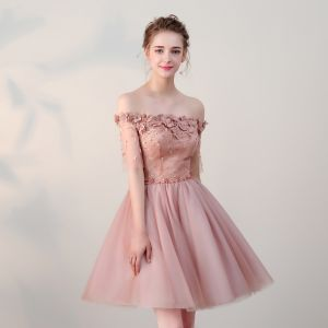 Affordable Formal Dresses 2017 Graduation Dresses Lace Appliques Pearl Off-The-Shoulder Backless 1/2 Sleeves Pearl Pink Short A-Line / Princess
