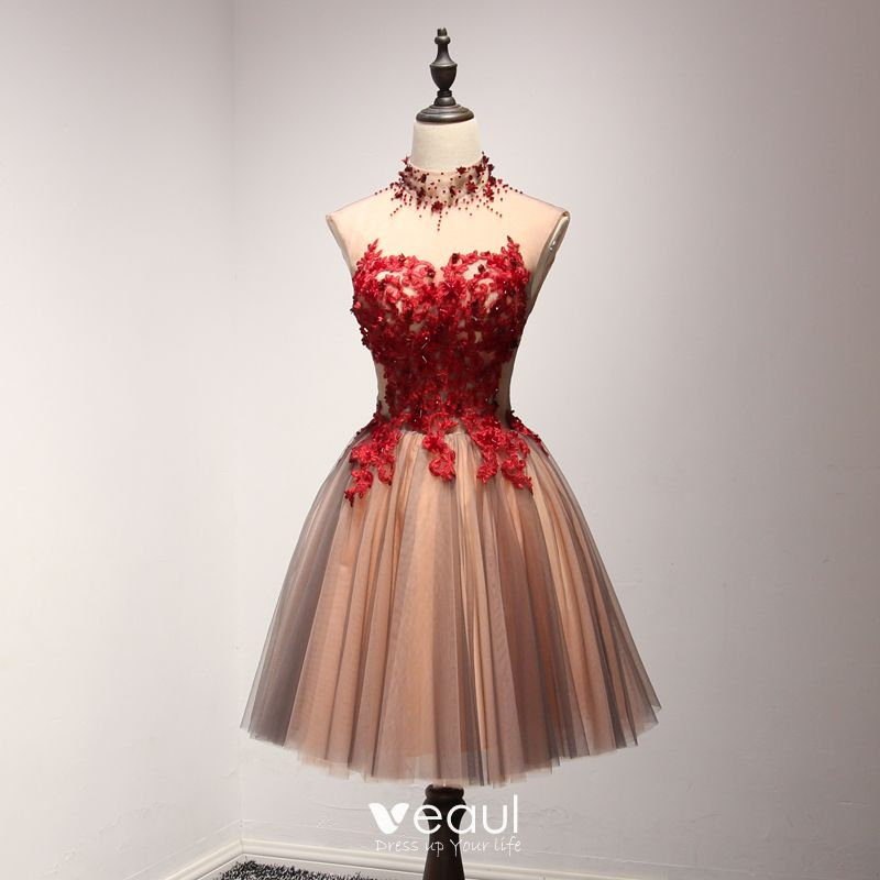 80d3508724a Chic   Beautiful Red Party Dresses 2017 Cascading Ruffles Short Ball Gown  High Neck Sleeveless Backless Lace Appliques Beading ...