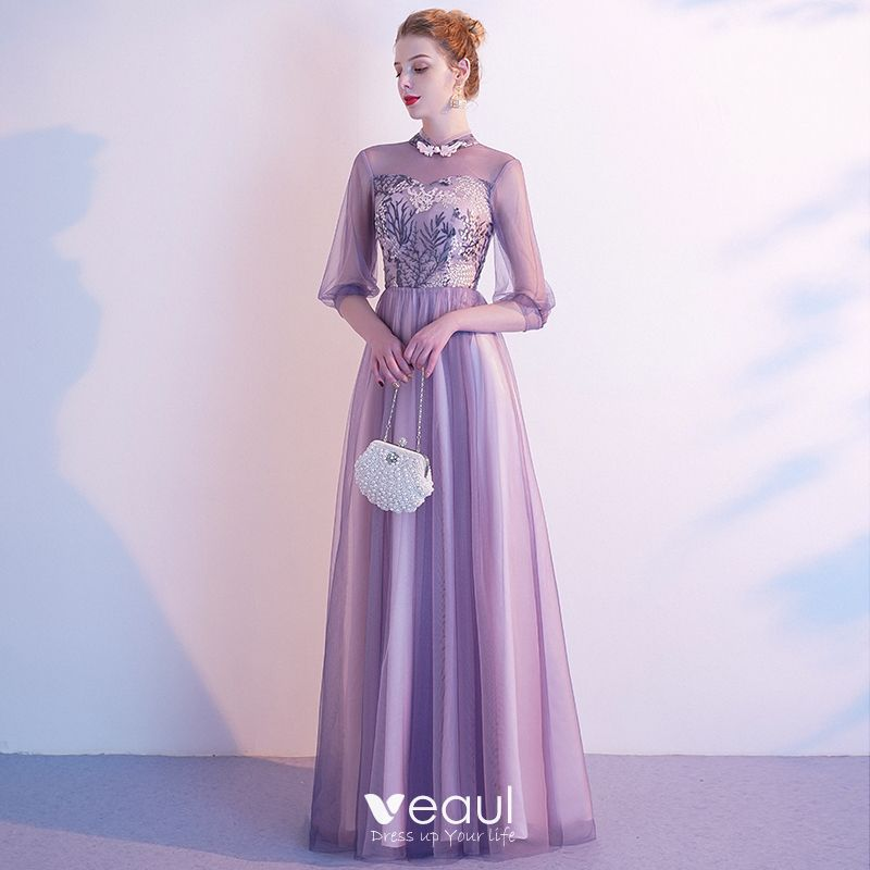 Chic Beautiful Lavender Evening Dresses 2020 A Line Princess High Neck Lace Flower 12 Sleeves Backless Floor Length Long Formal Dresses