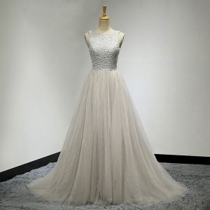 Chic / Beautiful Grey Prom Dresses 2017 A-Line / Princess Scoop Neck Sleeveless Beading Ruffle Tulle Backless Formal Dresses Sweep Train