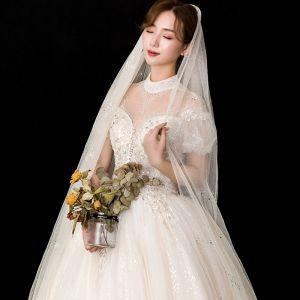 Amazing / Unique Champagne Glitter Wedding Veils 2020 Tulle Sequins 3 m Chapel Train Wedding Accessories