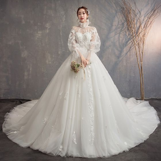 Vintage / Retro Ivory See-through Wedding Dresses 2019 Ball Gown High Neck Puffy Long Sleeve Backless Appliques Lace Cathedral Train Ruffle